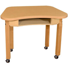 Mobile Synergy Classroom High Pressure Laminate Desk with Hardwood Legs - 30