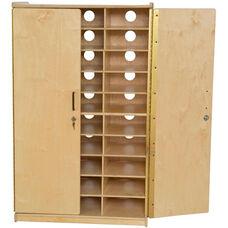Wooden Locking Tablet Charging Storage Unit - 30