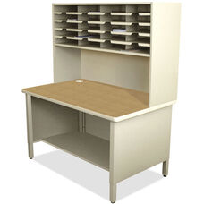 Mailroom 20 Fixed Slot Organizer with Riser and Under Worksurface Open Shelf - Putty