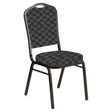Crown Back Banquet Chair in Cirque Black Fabric - Gold Vein Frame
