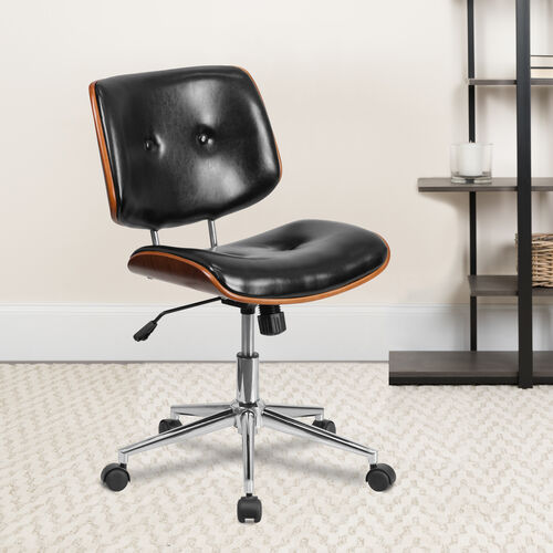 Low Back Black LeatherSoft Ergonomic Wood Swivel Task Office Chair