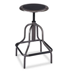 Safco® Diesel Series Backless Industrial Stool - High Base - Pewter Leather Seat