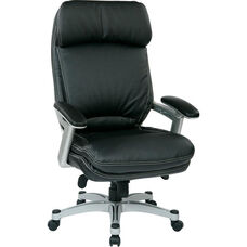 Work Smart Executive Eco Leather Chair with Padded Arms and Silver Finish Coated Base - Black