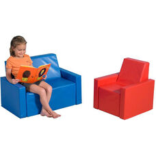 Tiny Tot Seating Group with Soft Polyurethane Foam Filled Vinyl Covered Two Piece Chair and Love Seat Seating