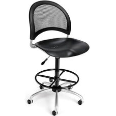 Moon Swivel Plastic Chair with Drafting Kit - Black