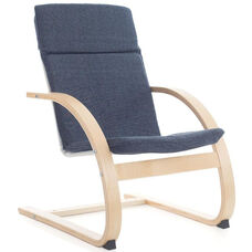 Nordic Rocker with Removable Cushion and Steam-Bent Plywood Construction - Denim - 20