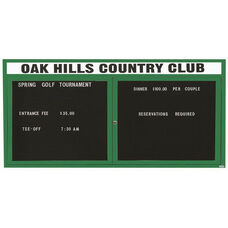 2 Door Indoor Illuminated Enclosed Directory Board with Header and Green Anodized Aluminum Frame - 36