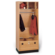 Pro Lockers with Laminate Seat and Chrome Rod - Oak Laminate