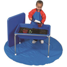 Blue 28.5'' Long Small Sensory Table and Lid Set with White Boots