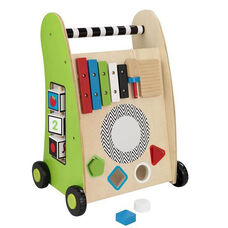 Early Childhood Development Wooden Push Along Play Cart with Xylophone and Shape Sorter