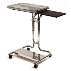 Clear Tempered Glass and Steel Height Adjustable Laptop Cart with Mouse Pad - Chrome