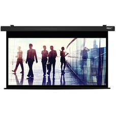 White and Black Wall Mountable Electric Projection Screen with Matte White Fabric Screen and Black Powder-Coated Aluminum Housing - 80