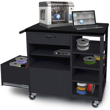 Steel 3D Printer Cart with Storage Drawer and Four Side Shelves