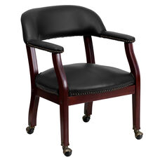Black Vinyl Luxurious Conference Chair with Accent Nail Trim and Casters