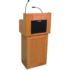 Oxford Two Piece Wired 50 Watt Sound Lectern - Cherry Finish - 22