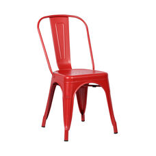 Tolic Stackable Red Painted Metal Outdoor Chair
