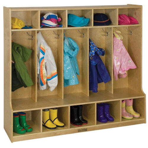 Our Birch Hardwood Five Section 10 Hook Coat Locker with Bench and 10 Cubbies is on sale now.