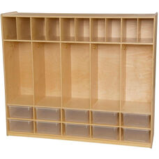 Wooden Locker and Communication Center with 10 Clear Plastic Trays - 58