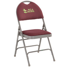 Embroidered HERCULES Series Ultra-Premium Triple Braced Burgundy Fabric Metal Folding Chair with Easy-Carry Handle