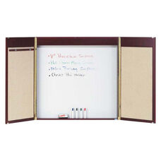 Walnut Hardwood Conference Cabinet with White Porcelain Marker Board Back Panel and Pull Down Projection Screen - 48
