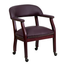 Burgundy Leather Conference Chair with Accent Nail Trim and Casters