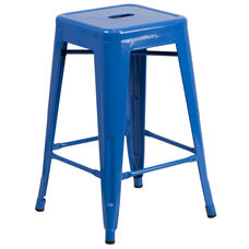 """Commercial Grade 24"""" High Backless Blue Metal Indoor-Outdoor Counter Height Stool with Square Seat"""