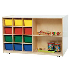 Double Sided Mobile Storage with 12 Multi-Colored Storage Trays - Assembled - 48