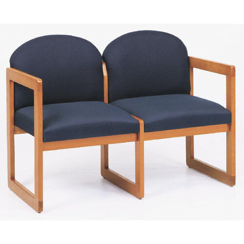 Classic Series Round Back 2 Seat Sofa with Sled Base