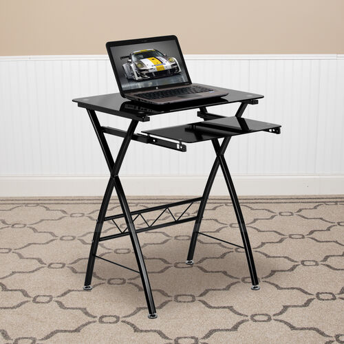 Our Black Tempered Glass Computer Desk with Pull-Out Keyboard Tray is on sale now.