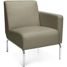 Triumph Left Arm Modular Lounge Chair with Vinyl Seat and Chrome Feet - Taupe