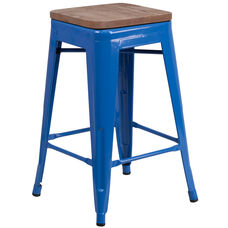 """24"""" High Backless Blue Metal Counter Height Stool with Square Wood Seat"""