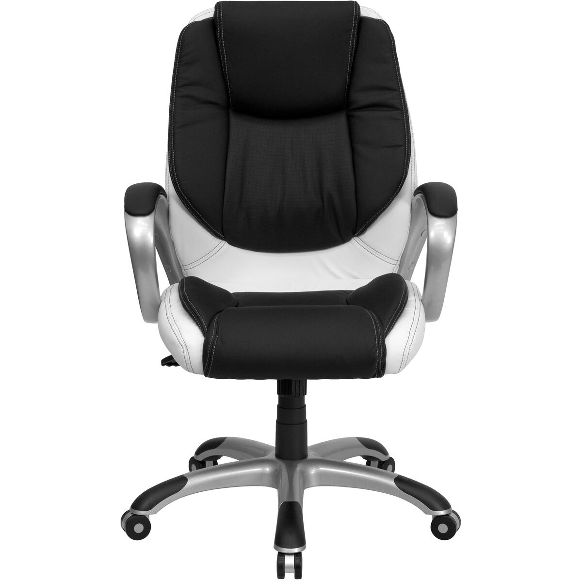 Our Mid Back Black And White Leather Executive Swivel Office Chair With Arms Is On