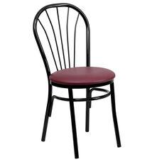 Metal Fan Back Bistro Chair with Burgundy Vinyl Seat