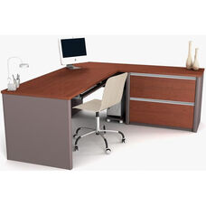 Connexion Reversible L-Shaped Workstation with File Drawers and Keyboard Drawer - Bordeaux and Slate