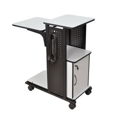 4 Laminate Shelves Mobile Presentation Station With Cabinet & Electric