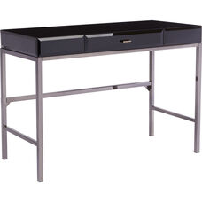 OSP Designs Obsidian Desk with Black Glass
