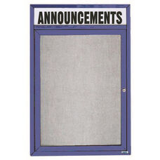 1 Door Outdoor Enclosed Bulletin Board with Header and Blue Powder Coated Aluminum Frame - 36