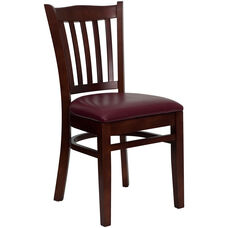 Mahogany Finished Vertical Slat Back Wooden Restaurant Chair with Burgundy Vinyl Seat