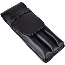 Three Slot Pen Case - Genuine Leather - Black