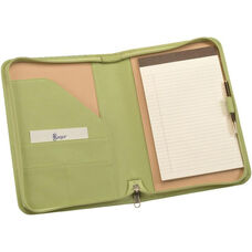 Zip Around Junior Writing Padfolio- Top Grain Nappa Leather - Key Lime Green