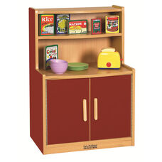 Colorful Essentials Kitchen Cupboard Play Station with Interior Shelves - Red