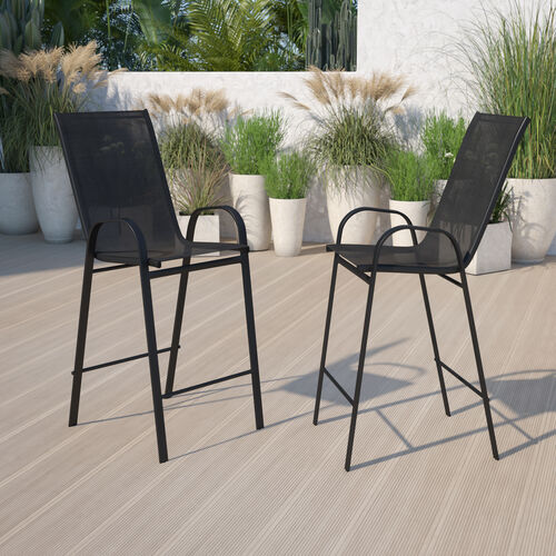 2 Pack Brazos Series Black Stackable Outdoor Barstools with Flex Comfort Material and Metal Frame