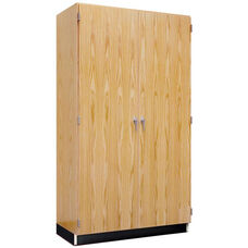 Science Lab Wooden Wall Locking Storage Case with 2 Fixed and 4 Adjustable Shelves - 36