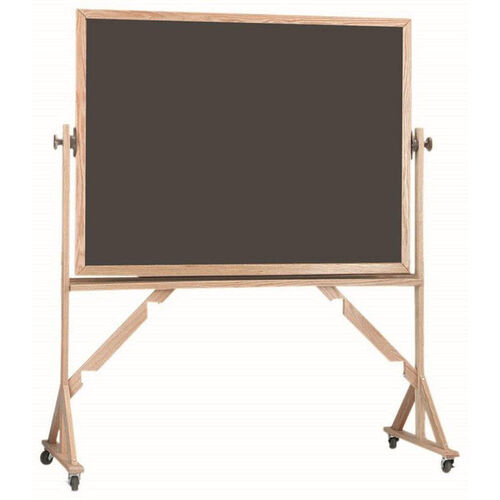 Our Reversible Free Standing Slate Porcelain Chalkboard with Red Oak Frame - 48