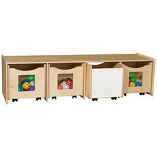 Wooden Storage Bench with 4 Rolling Storage Compartments - 60