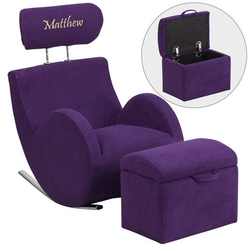 Our Personalized HERCULES Series Purple Fabric Rocking Chair with Storage Ottoman is on sale now.