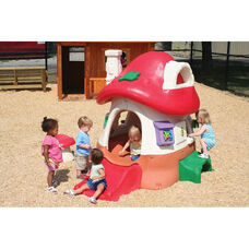 Fade Resistant Molded Polyethylene Plastic Tot Town Mushroom Cottage with Mini Slide and Attached Bench - 56