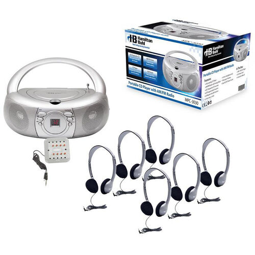Our Silver and Gray Personal Headphone Listening Center with CD Player Boombox and Individual Volume Control Jackbox - Set of 6 Headphones is on sale now.