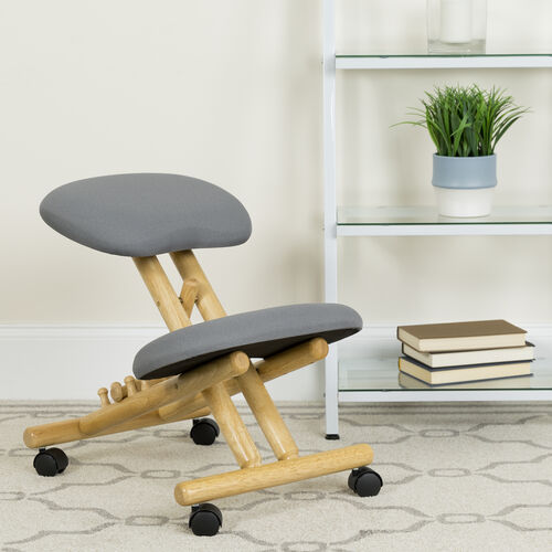 Our Mobile Wooden Ergonomic Kneeling Office Chair in Gray Fabric is on sale now.
