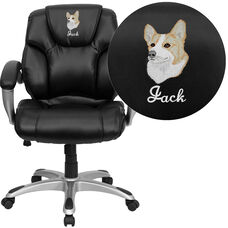 Embroidered Mid-Back Black LeatherSoft Layer Padded Executive Ergonomic Office Chair with Silver Nylon Base and Arms